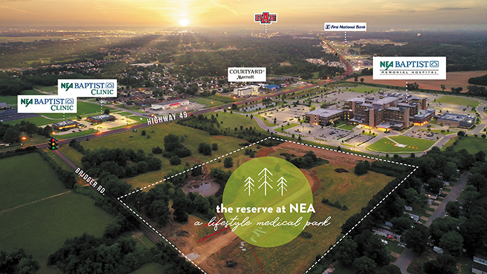 The Reserve at NEA to Provide Recreation and Solace   | Haag Brown Commercial Real Estate, NEA Baptist Health System, Melanie Edens, Joshua Brown, lifestyle development, The Reserve at NEA Baptist, NEA Baptist Fowler Family Center for Cancer Care, medical real estate, the Reserve at Hill Park, Becky Gillette